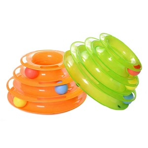 Funny Cat Pet Toys Ball Disk 3 Layers Tower Toy Interactive Plate Moving Turntable