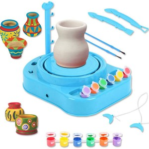 Educational DIY Craft Pottery Wheel Toy Workshop Electric Battery Operated Clay with charger for kids