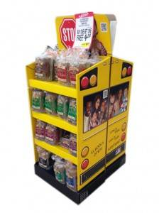 POS Cardboard Floor Display Shelves Stand