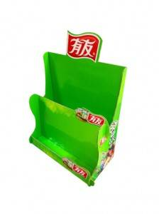 Paper Material Counter Stand Corrugated Countertop 2 Tier Cardboard Display