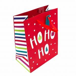 In Stock Custom Folding Christmas Paper Gift Bag for festival favor packaging