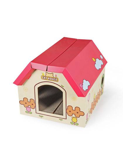 Cardboard Cat House with Scratching Board