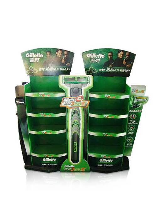 Merchandising Store Cardboard Floor Display Stand for Razor Shaver