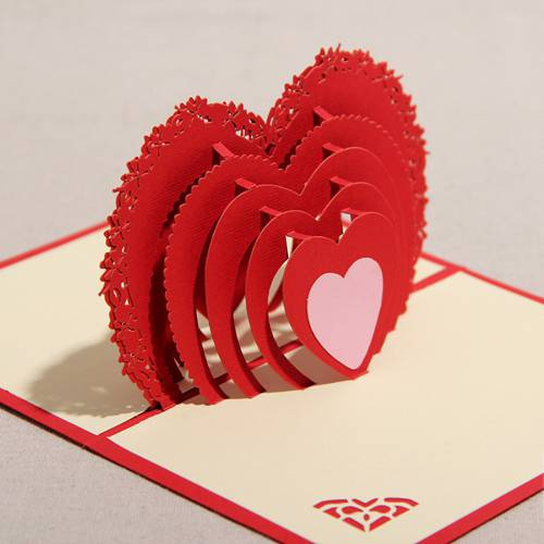 3D Handmade Heart Shape Cheap Greeting Card