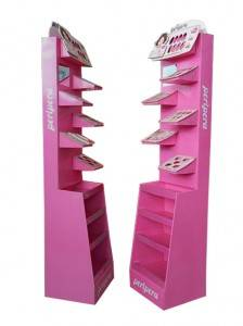 Durable Clothing Cosmetics Nail Polish Cardboard Floor Standing Rack Display