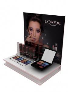 Acrylic counter top cosmetics display unit