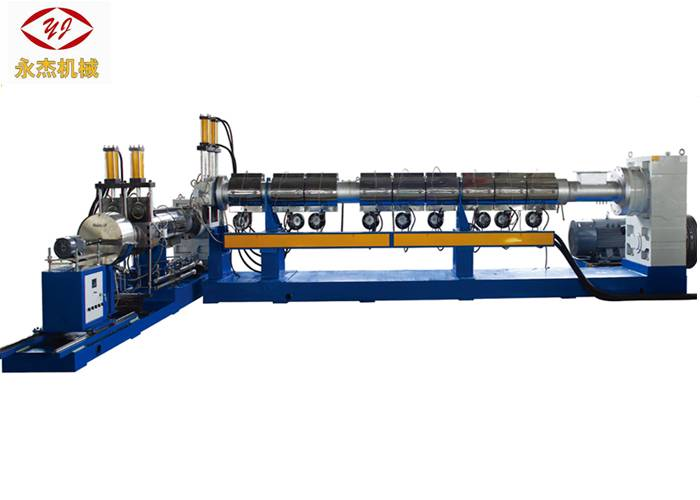 Single – Single Screw Two Stage Extruder Air Cooling Die Face Cutting Way