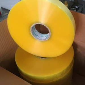 Big roll yellowish packing tape 1000 meters for machine use