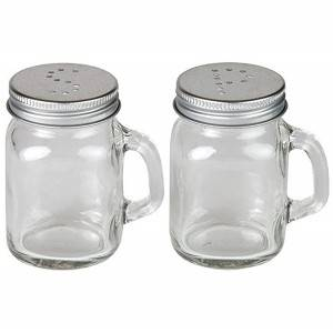 120ml 4oz Glass Salt and Pepper Shakers Mason Jar Mug with Glass Handles and Metal Lids