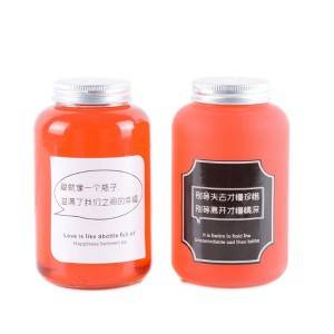 500ml round milk tea juice glass bottle with metal lid