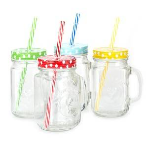 glass mason jar with screw tin cap and straw