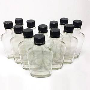 200 ml (6.6 oz) Glass Flask Liquor Bottle with Black Caps