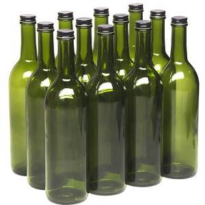 750ml Champagne Green Glass Bordeaux Wine Bottle Flat-Bottomed Screw-Top Finish