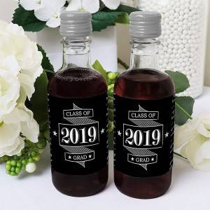 Graduation Cheers – Mini Wine and Champagne Bottle Label Stickers – 2019 Graduation Party Favor Gift for Women and Men