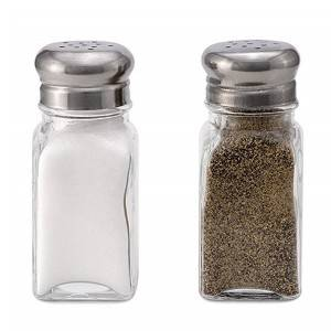 60ml 2oz Transparent Glass Condiment Bottles Spice Salt Pepper Bottle With Metal Steel Caps