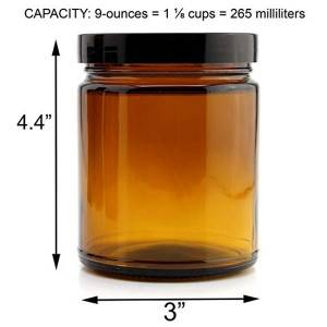 Amber glass cosmetic jar
