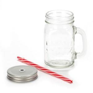 glass mason jar with cap and straw