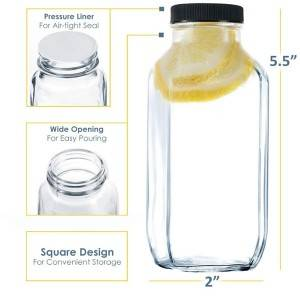 10oz french square glass juice bottle with proof cap
