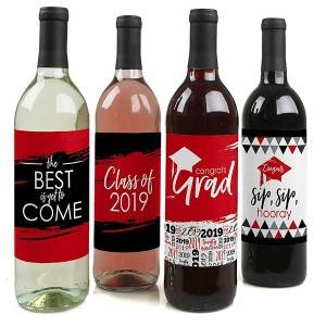 Red 2019 Graduation Party Decorations for Women and Men – Wine Bottle Label Stickers