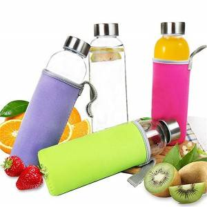Wholesale 500ml 420ml 300ml glass water bottle with silicone sleeve