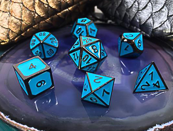 Metal dice set black with teal