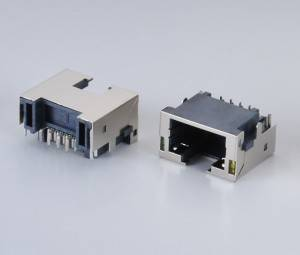 RJ45  Modular Jack Female Socket 8P8C  Sink Type DIP 90°
