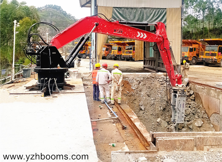 Guangzhou Shunxing Quarry Successfully Installed A Fixed Type Pedestal Boom System Again