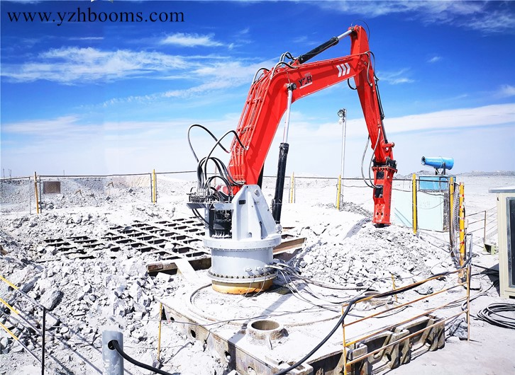 YZH Remotely Operated Pedestal Boom Rockbreaker System With 5G Teleoperation for Mining Industry