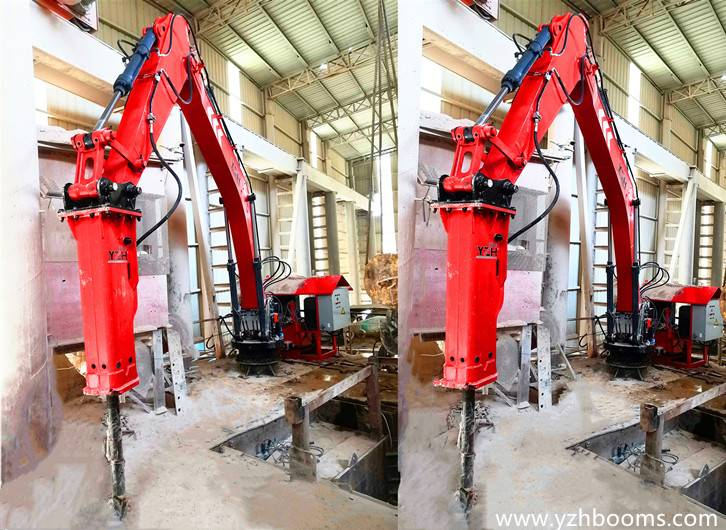YZH Stationary Pedestal Rockbreaker Boom System Successfully Delivered To Limestone Mining Company